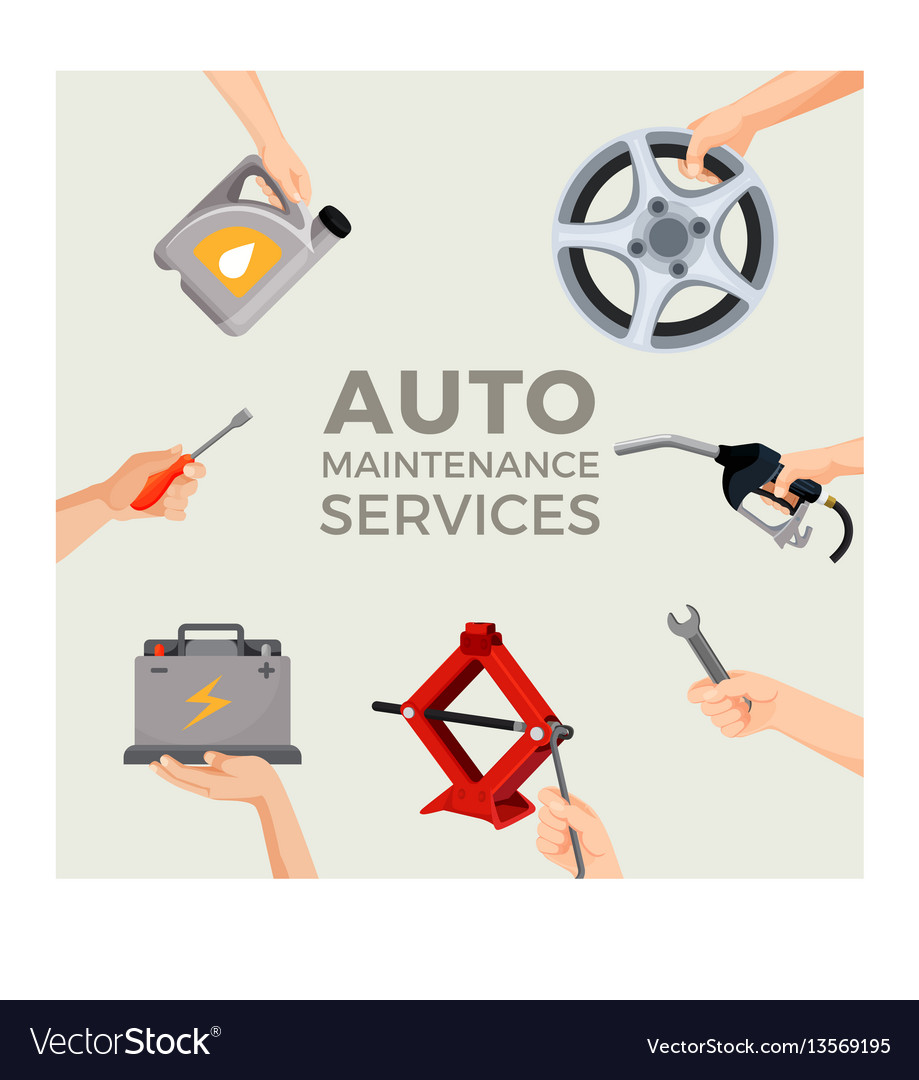 Auto maintenance services set with green car in