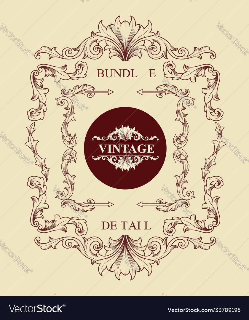 Bundle vintage engraving ornaments classic