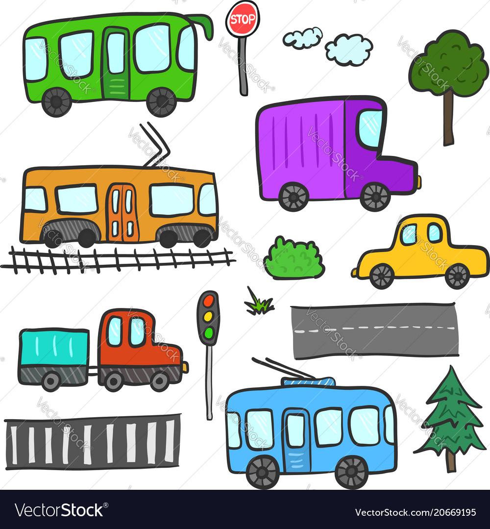 Cartoon city transport trees roads lights vector image