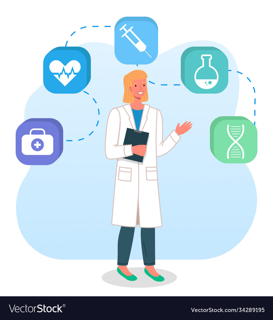 Doctor woman with clipboard icons syringe
