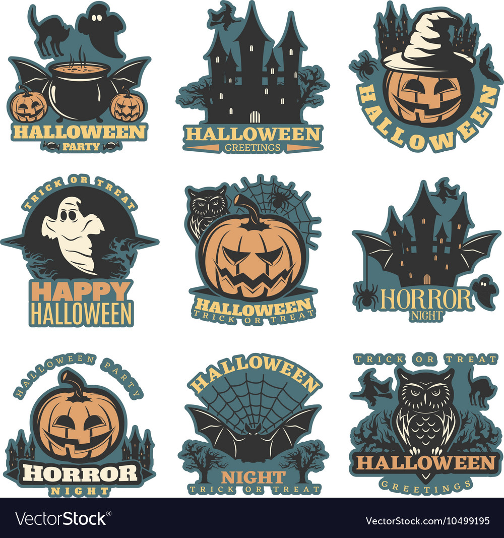 Halloween Colored Emblems