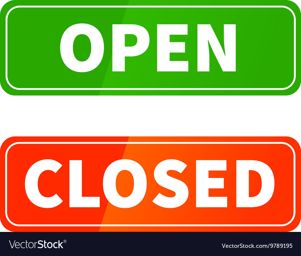 Open and closed glossy signs for shop door