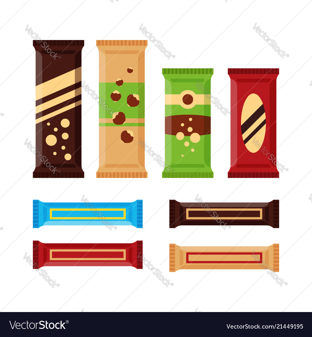 Set of colorful chocolate bars icons isolated on