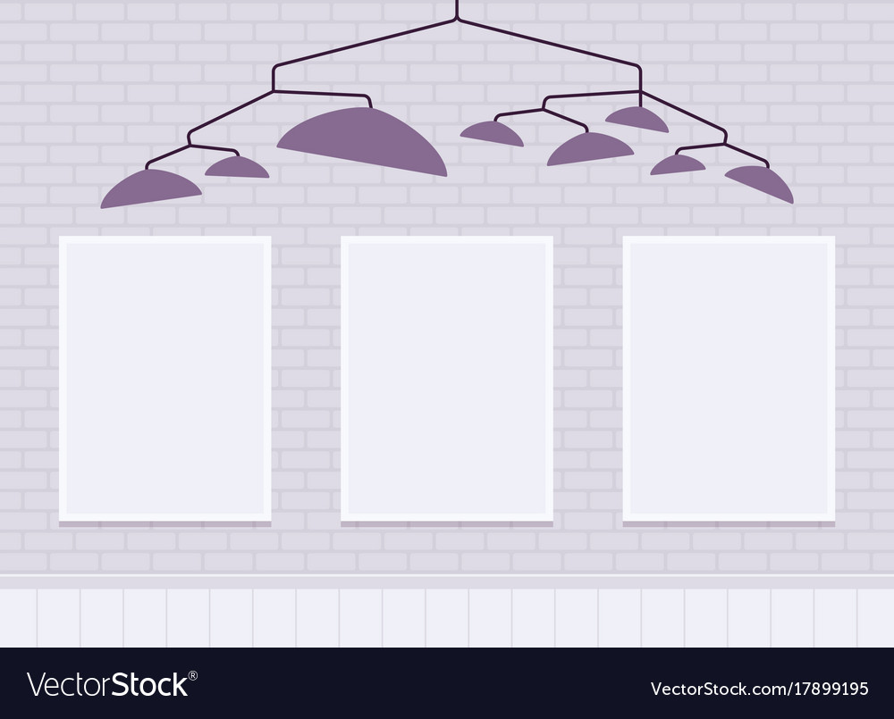 White brick wall with frames for copy space Vector Image
