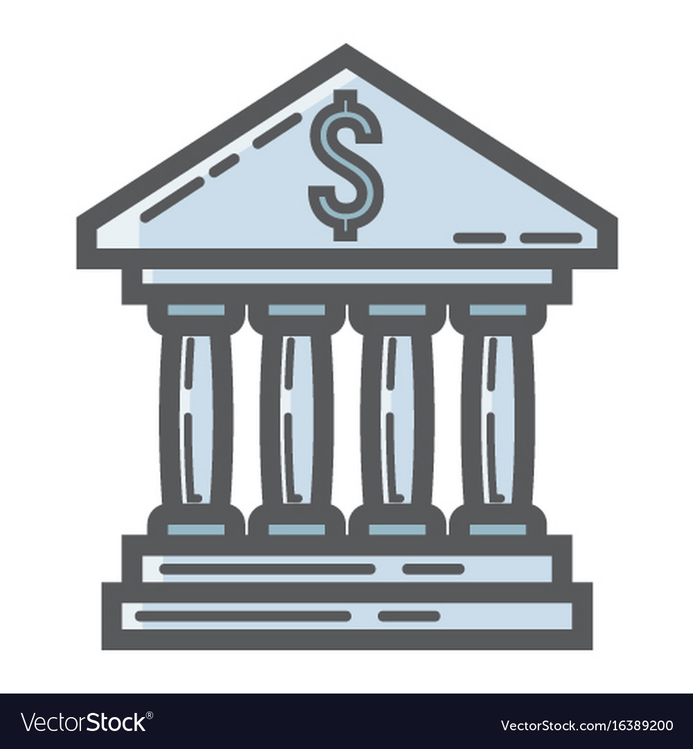 Bank building filled outline icon business vector image