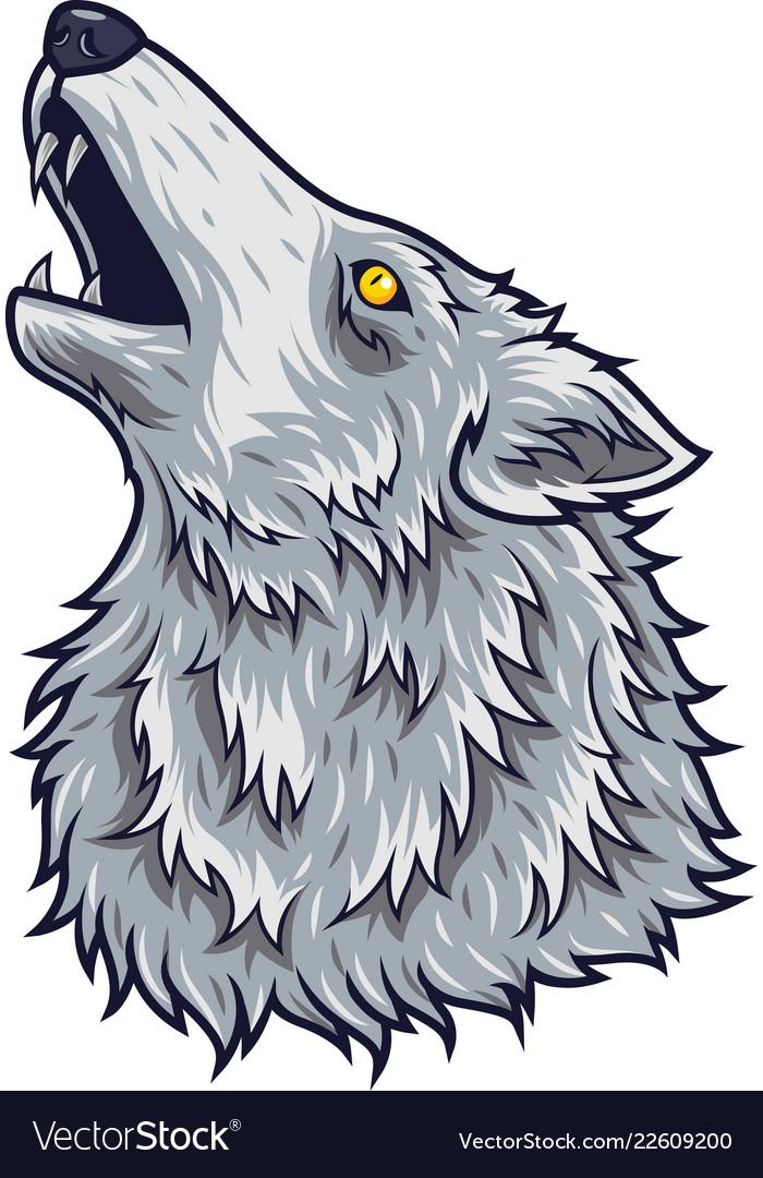 Cartoon angry wolf head mascot