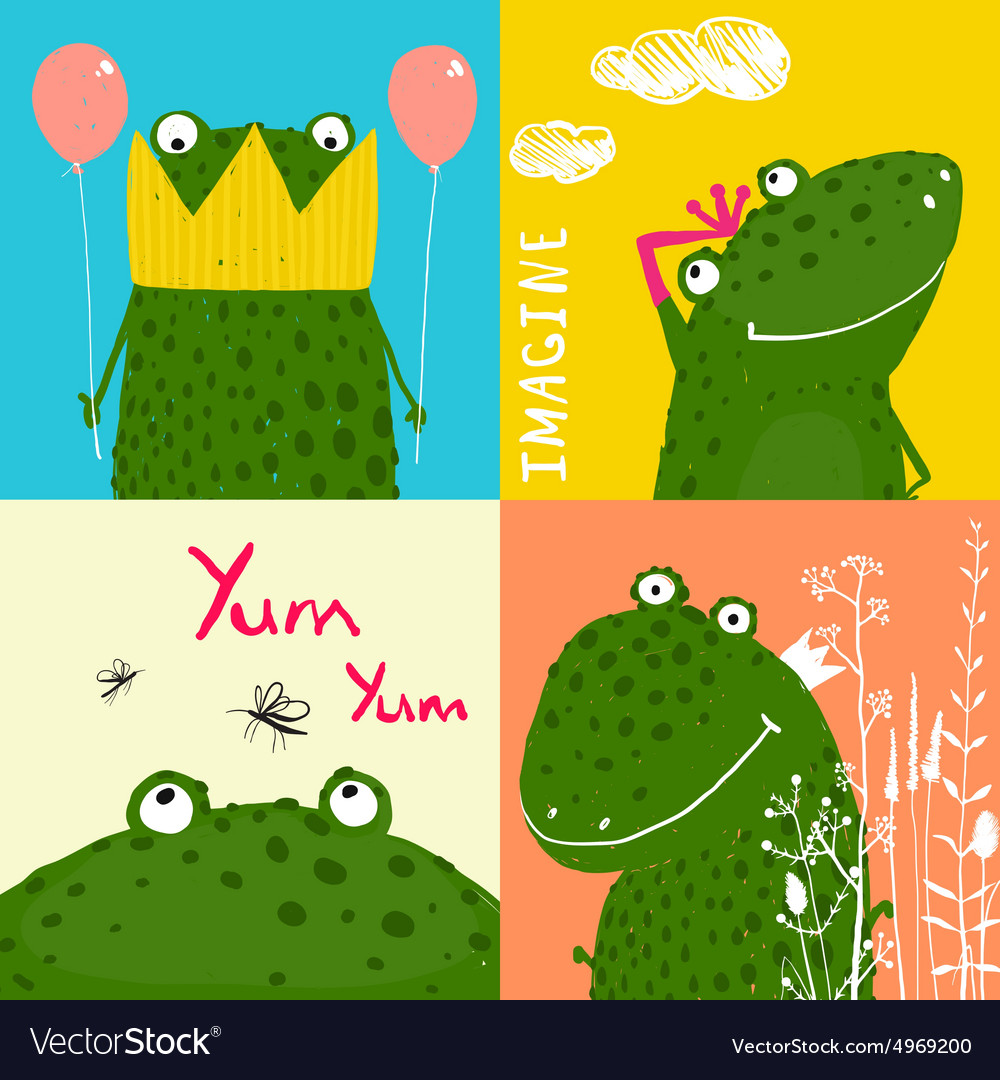 Colorful fun cartoon frogs animals greeting cards vector image m4hsunfo