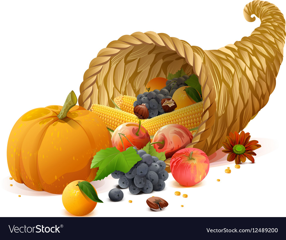 Cornucopia rich harvest on day of Thanksgiving