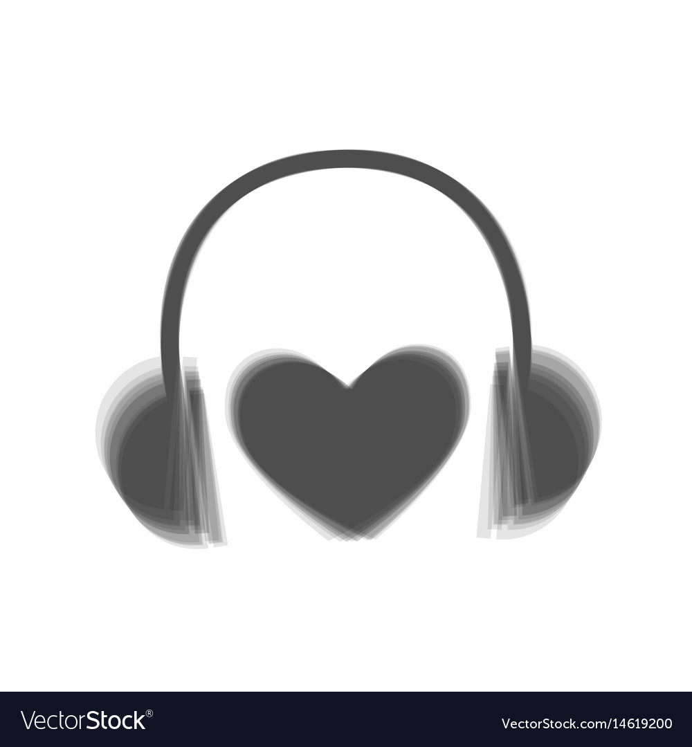 Headphones with heart gray icon shaked at vector image