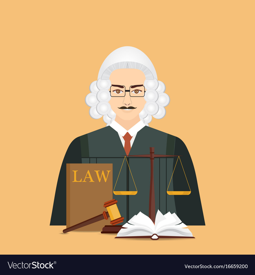 Male judge in wig with law and justice set icon