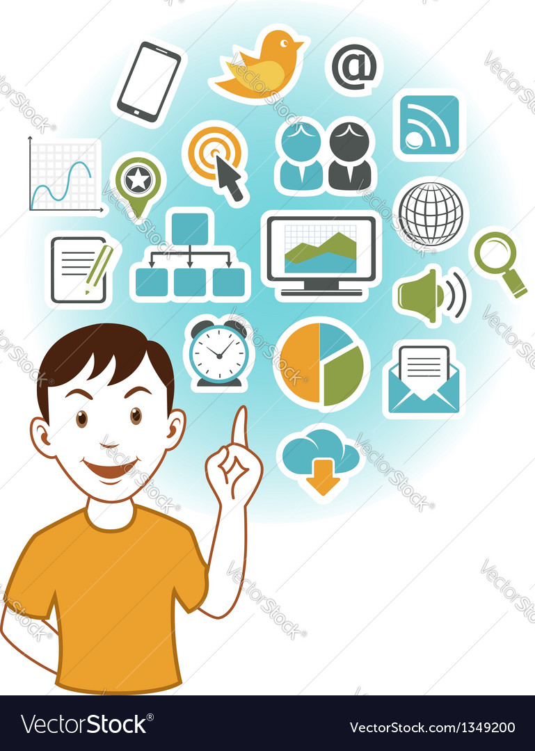 Man with SEO icons