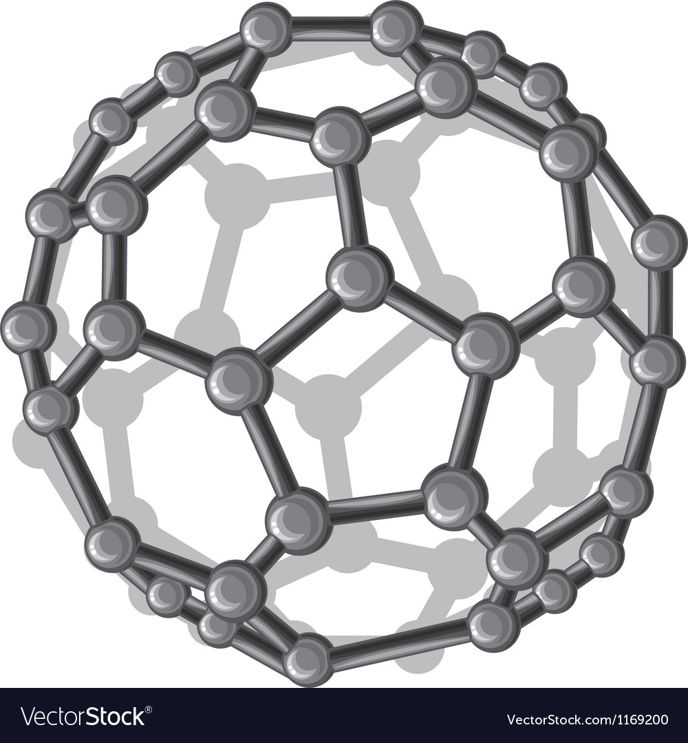 Molecular structure of the C60 buckyball vector image
