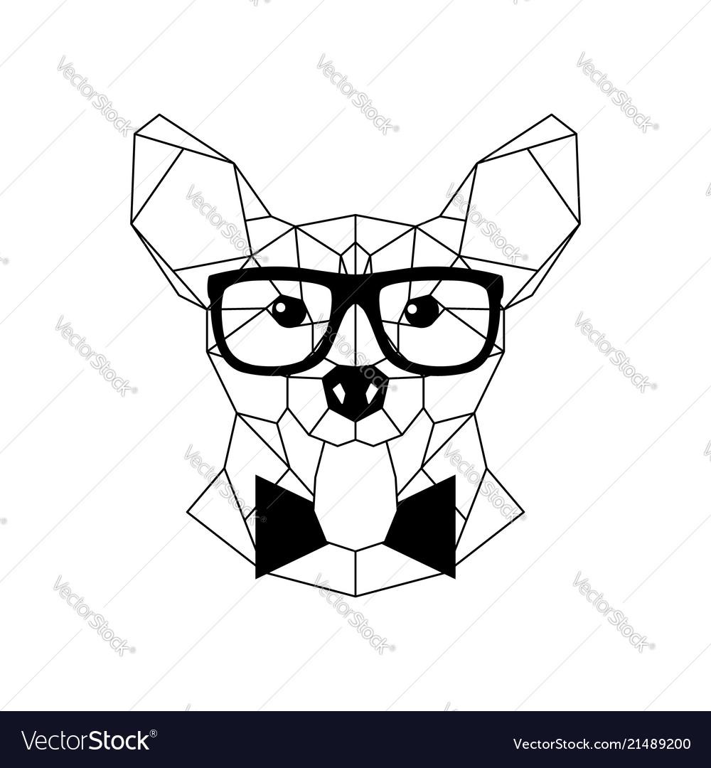 Polygonal corgi dog in fashion glasses and bow