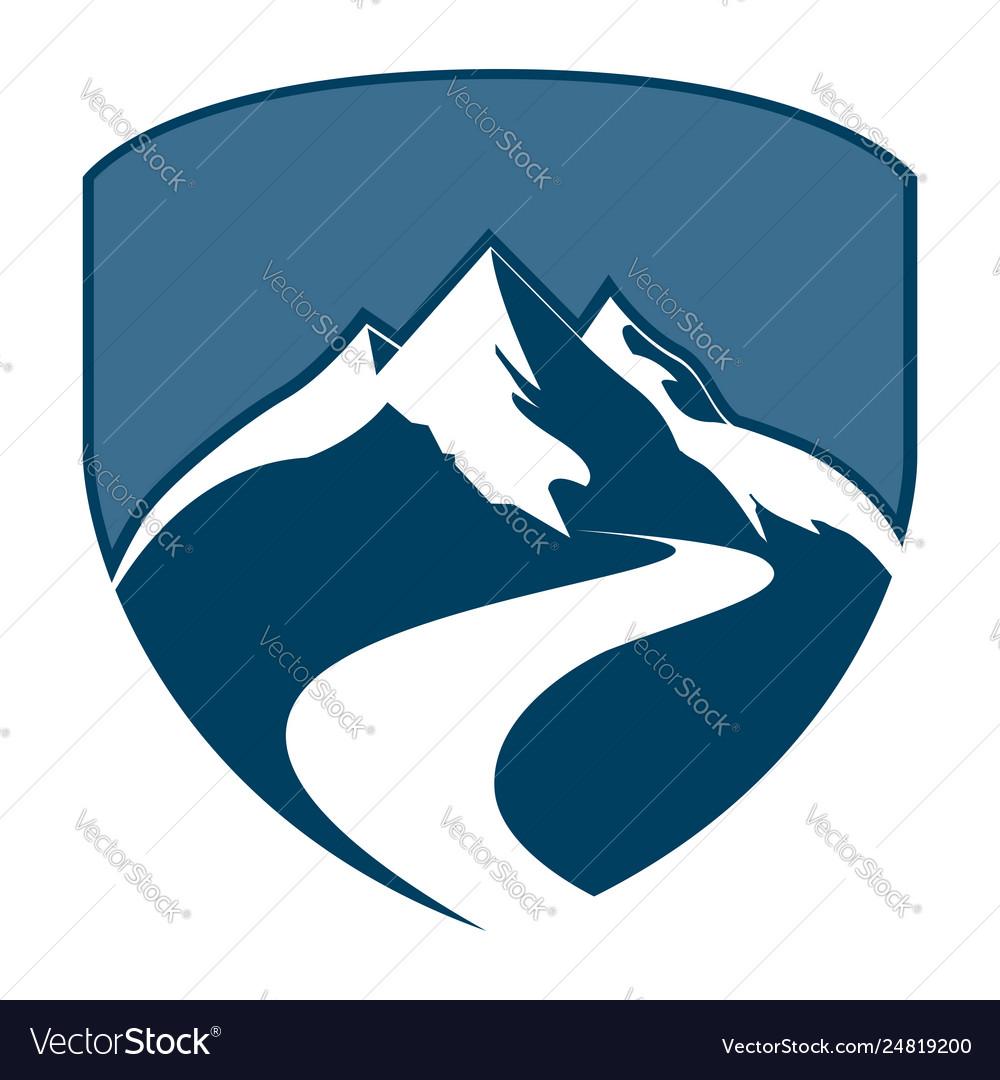 Shield mountain badge concept design symbol