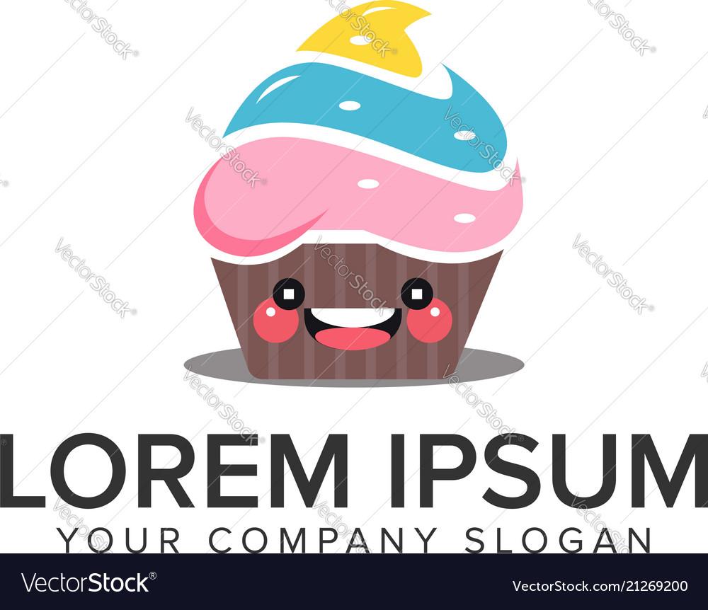Smile cake logo design concept template fully