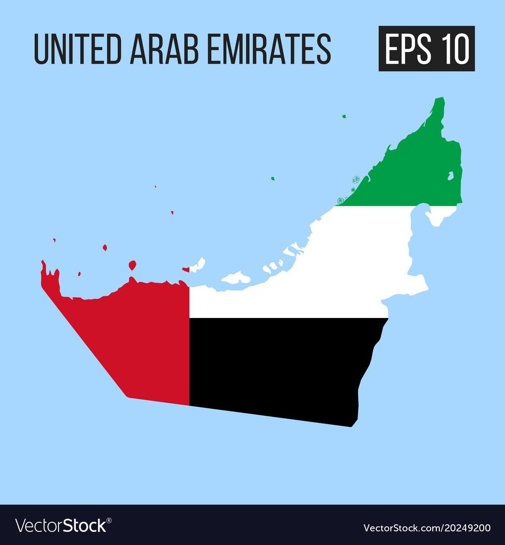 United arab emirates map border with flag eps10