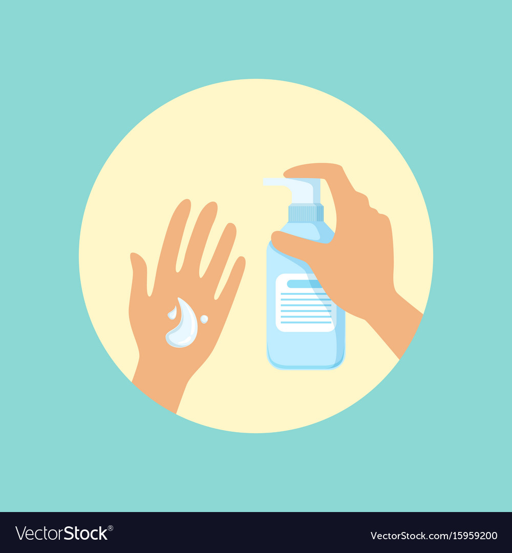 Washing hands with liquid soap round vector image