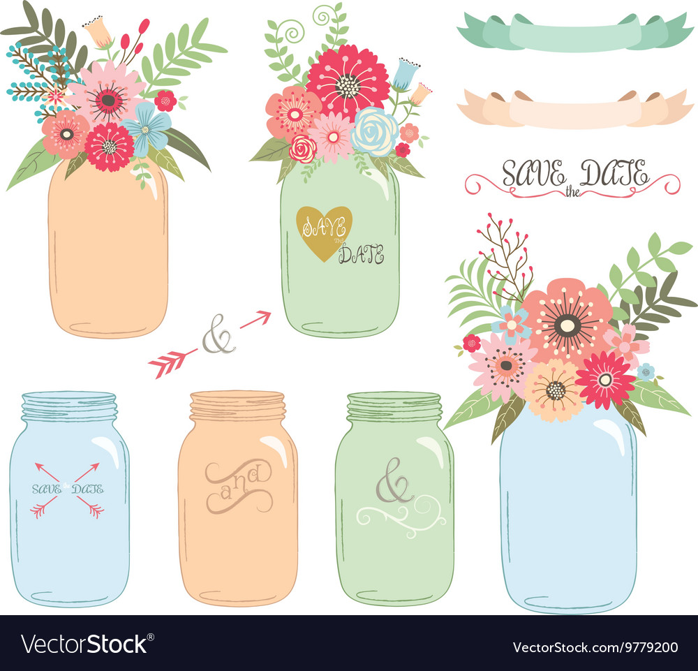 Wedding flower Mason JarHand Draw set vector image