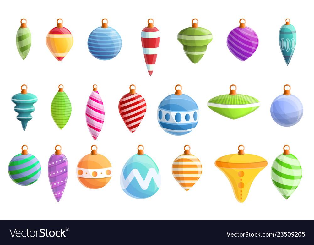 Christmas tree toys icons set cartoon style