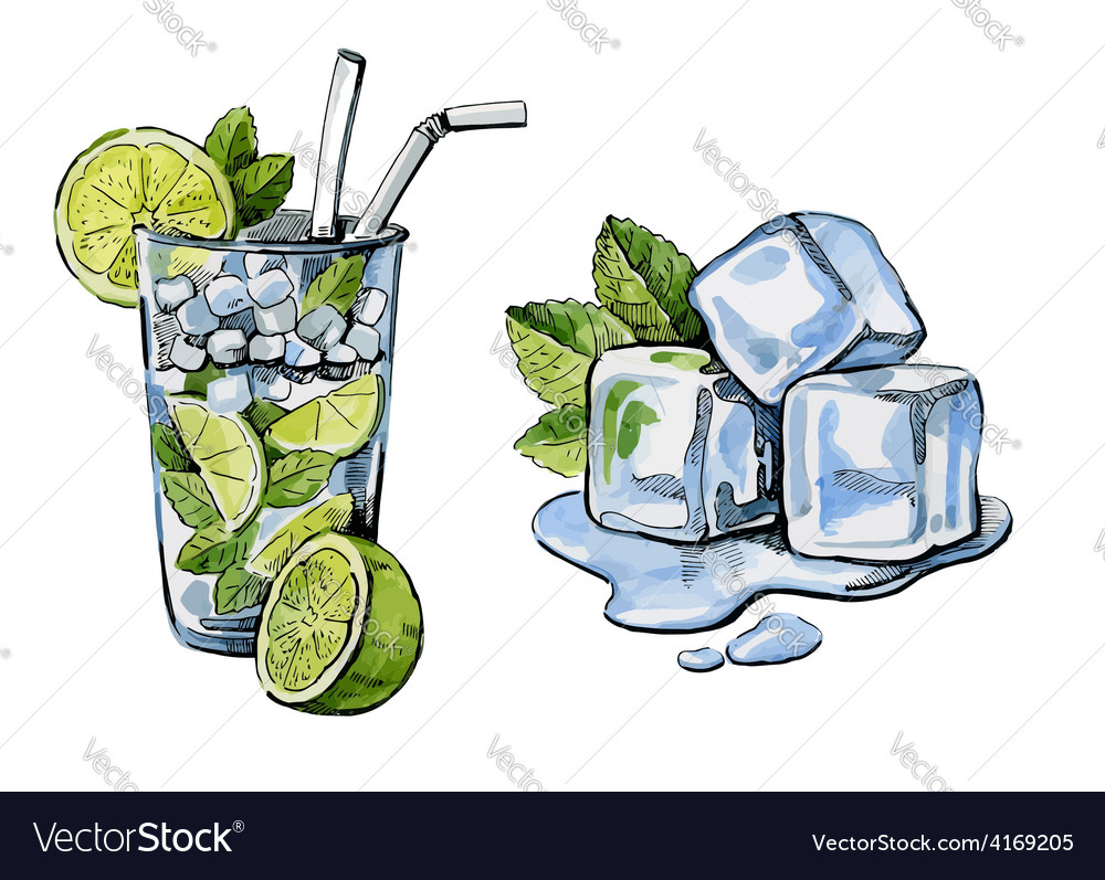 Cocktail and ice