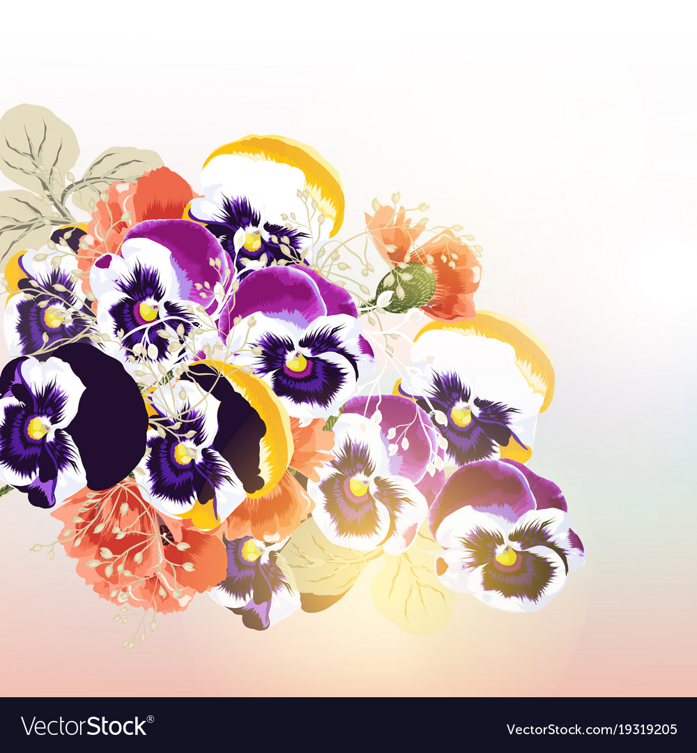 Cute background with bouquet of flowers Royalty Free Vector