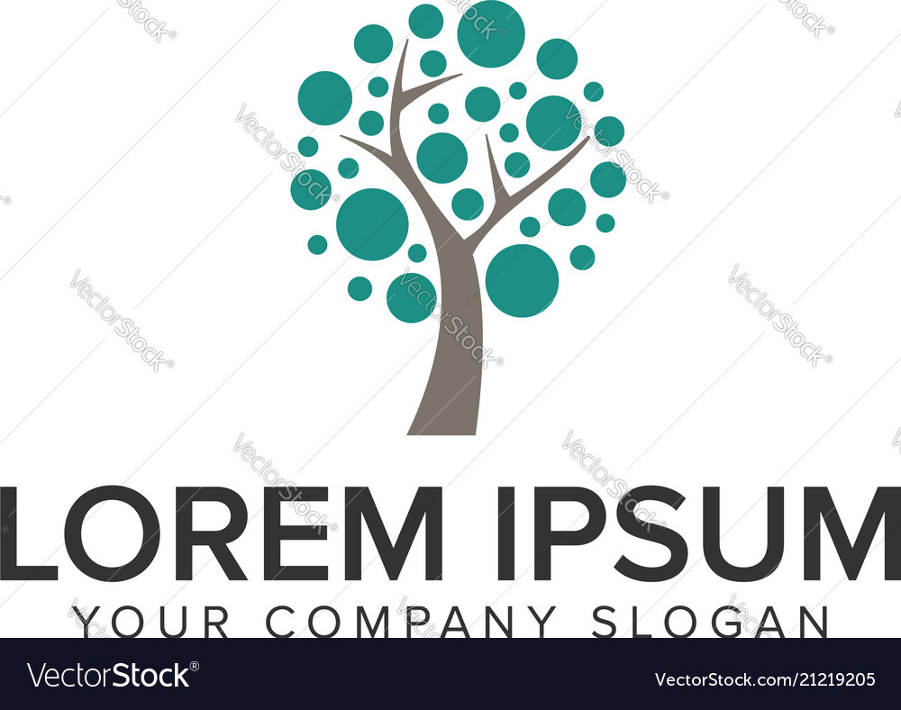 Dot tree logo design concept template