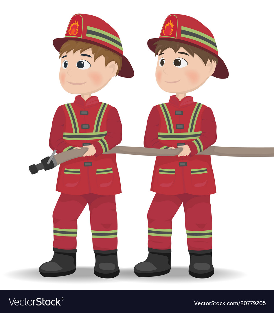 Firemen cartoon character equiped vector image
