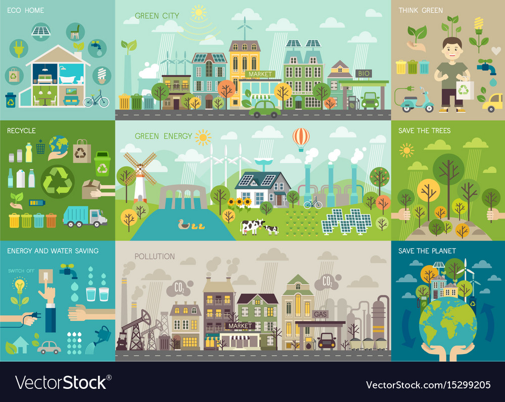 Green city infographic set with charts and other