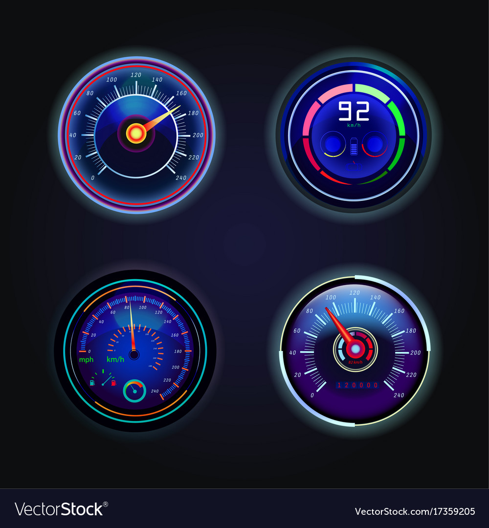 Isolated speedometers or gauges for speed vector image