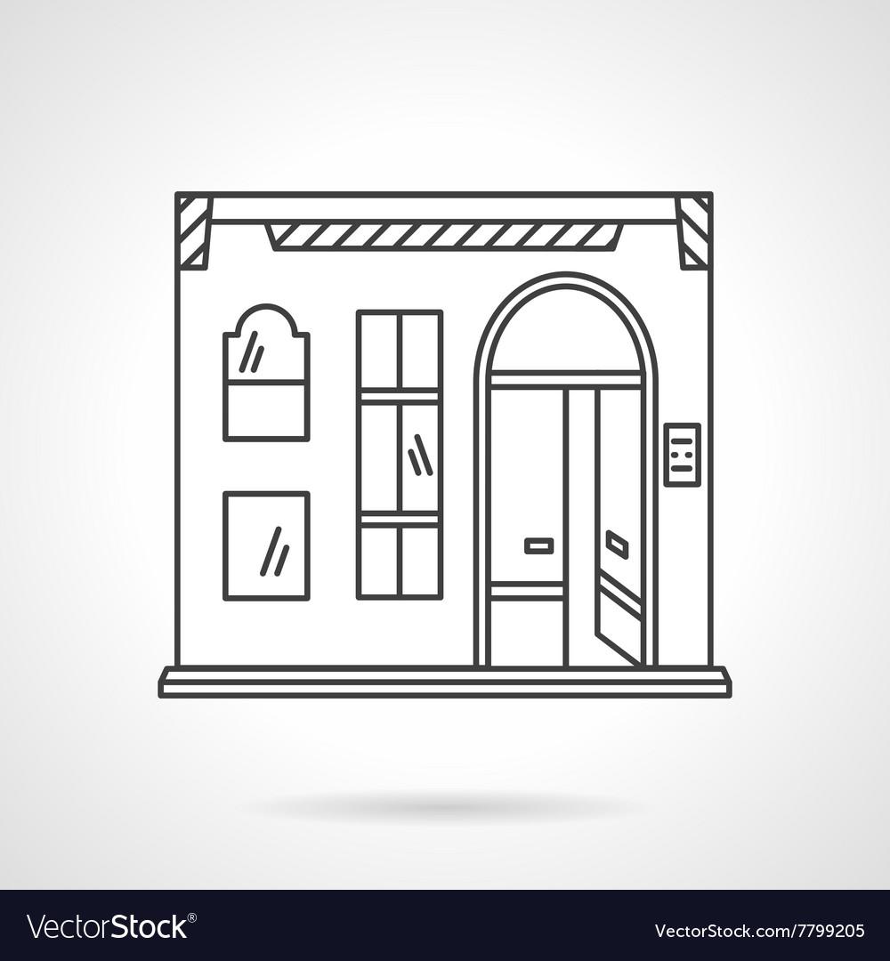 Pub facade flat line design icon vector image