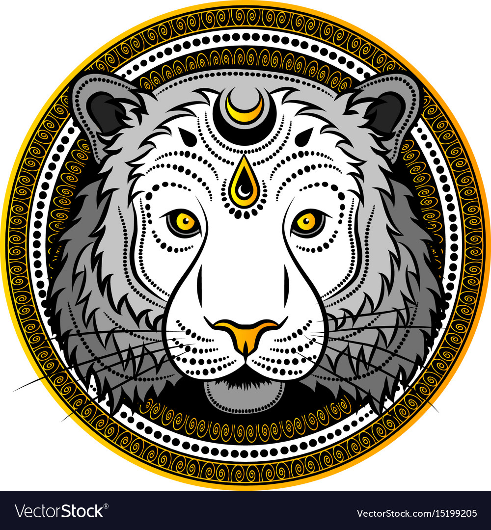 Stylized tiger face hand drawn doodle