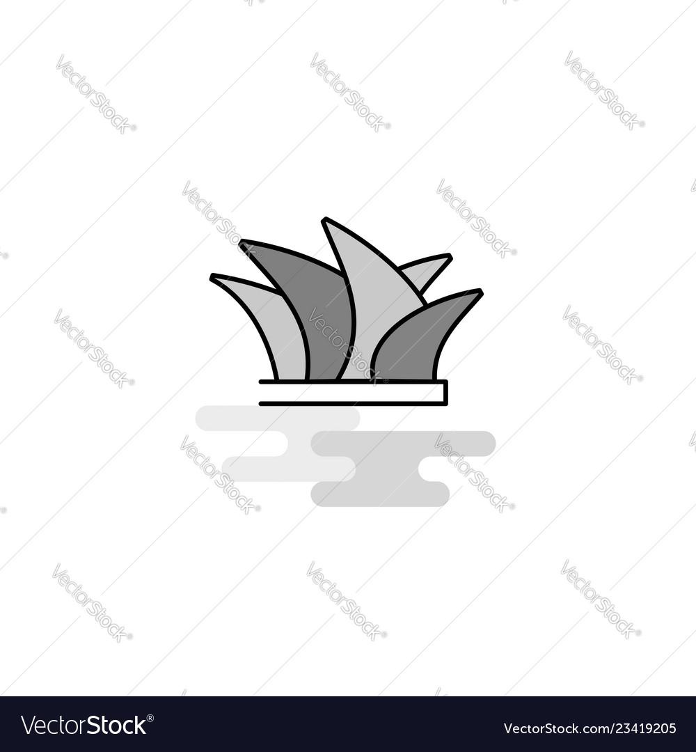Sydney web icon flat line filled gray icon