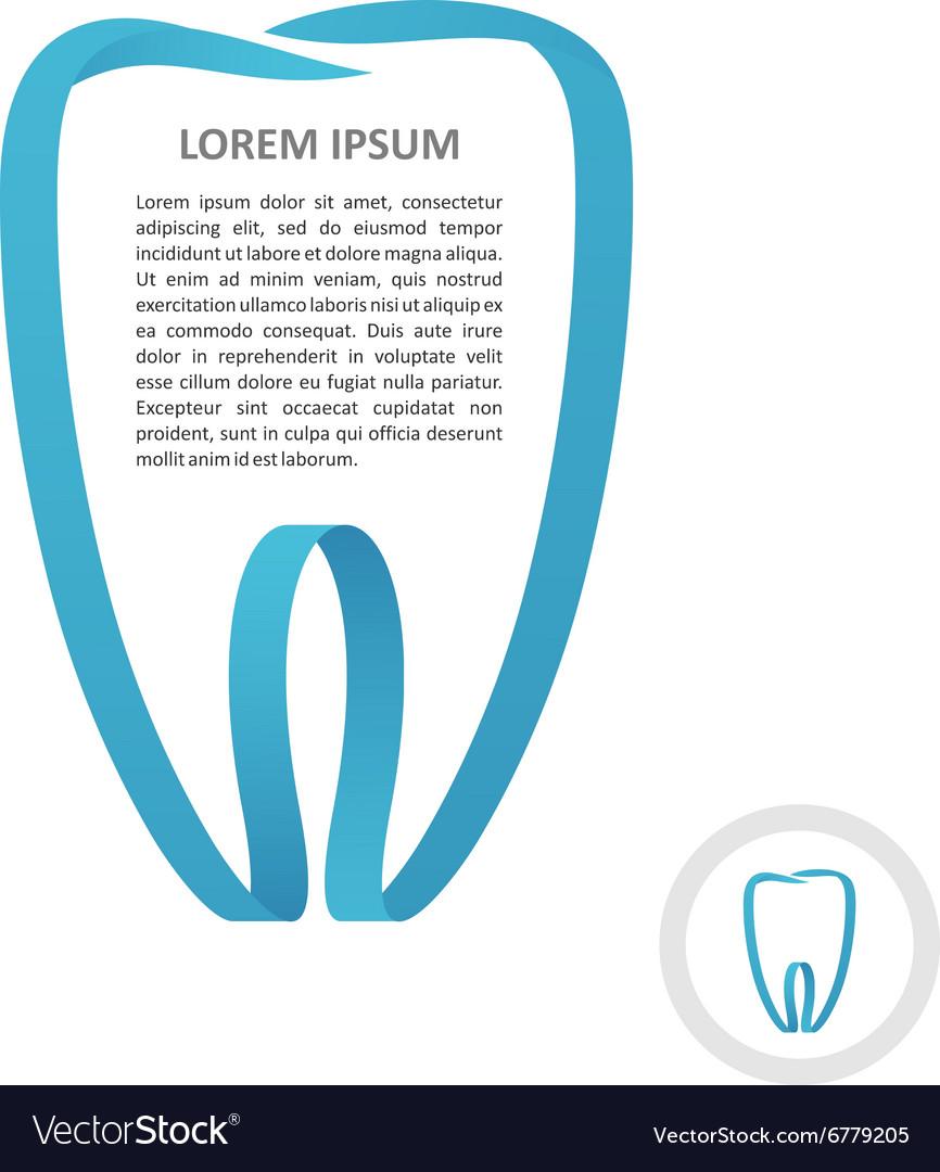 Tooth logo blue ribbon frame style Border stripe