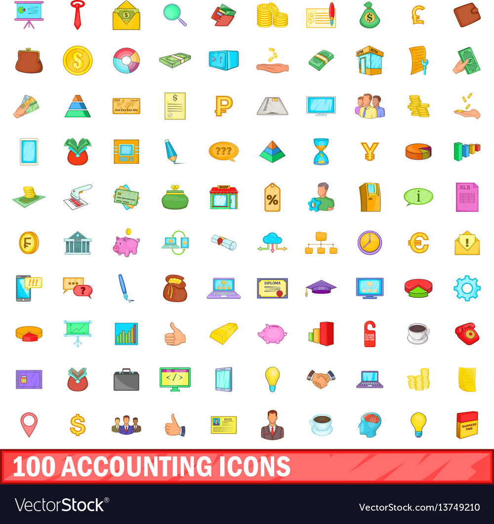 100 accounting icons set cartoon style