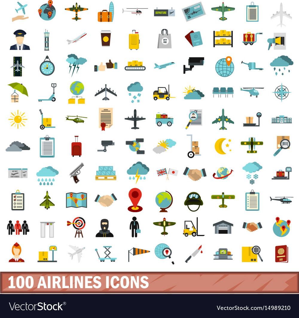 100 airlines icons set flat style