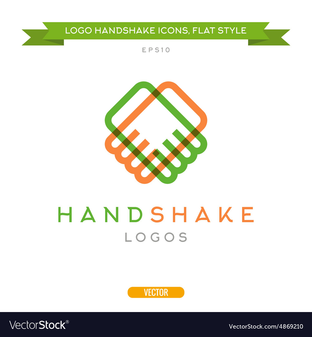 Abstract outline handshake logo flat style