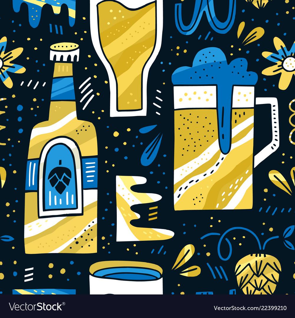 Beer hand drawn pattern
