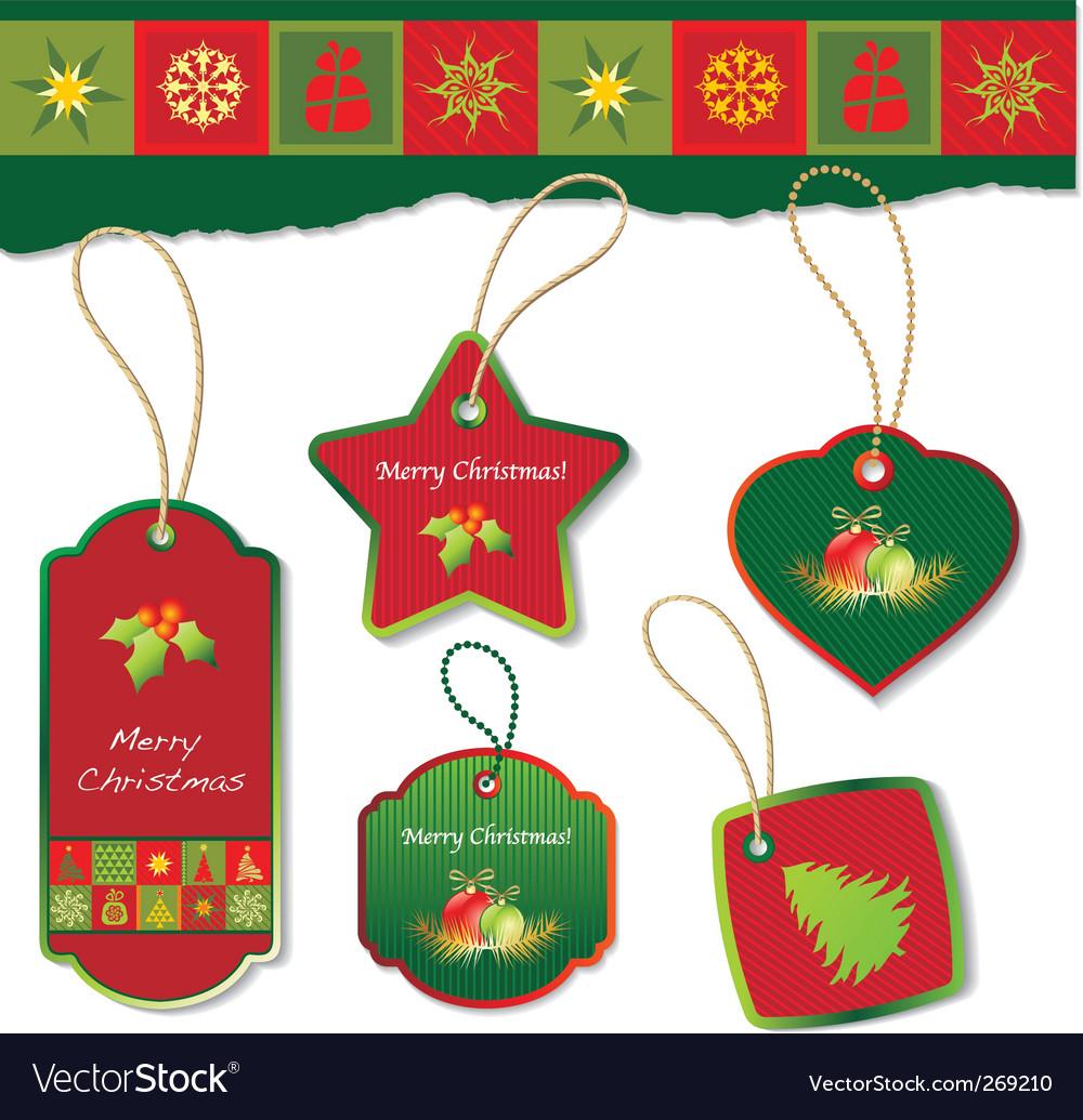 Christmas tag vector image