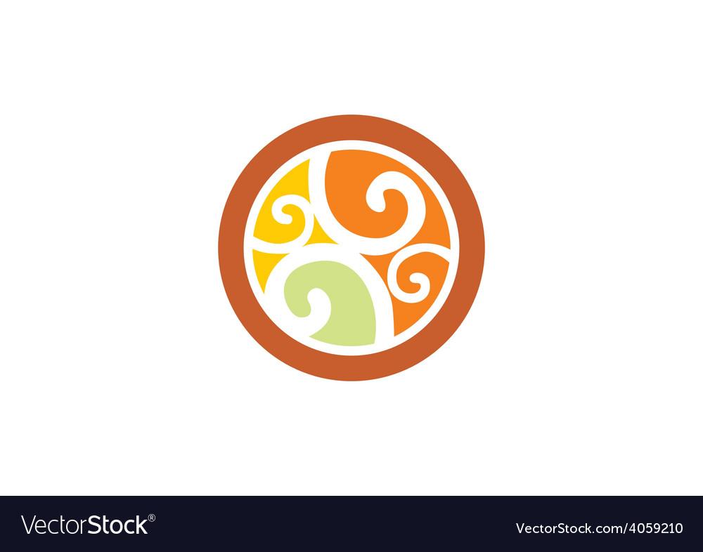 Decorative round swirl design element vector image