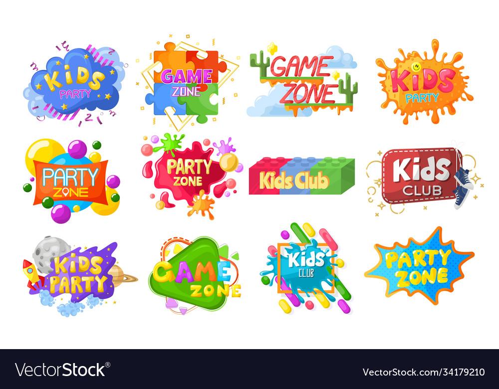 Kids party emblem logo banner label set flat