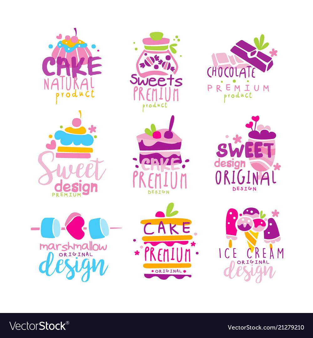 Sweets logo original design set kids menu badges