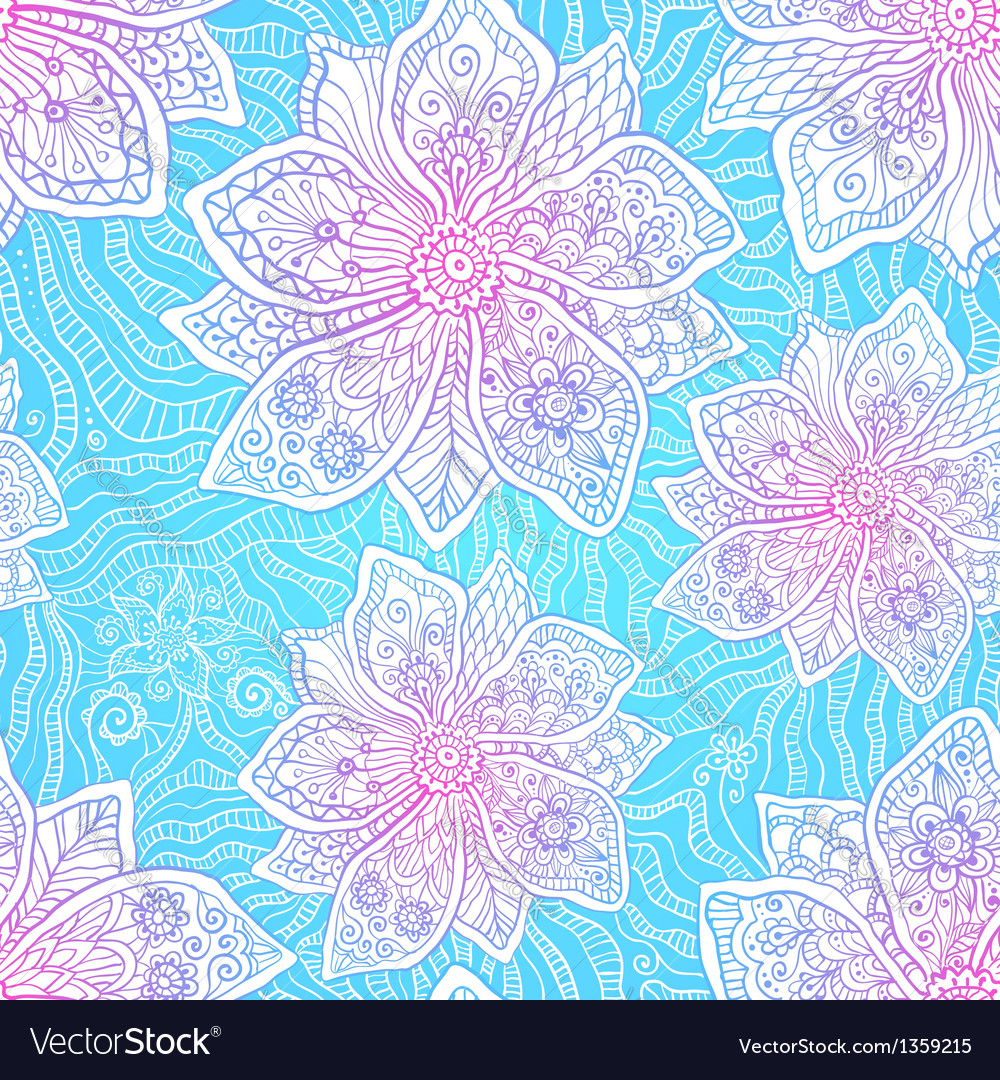 Blue And Pink Colors Ornate Flowers Royalty Free Vector