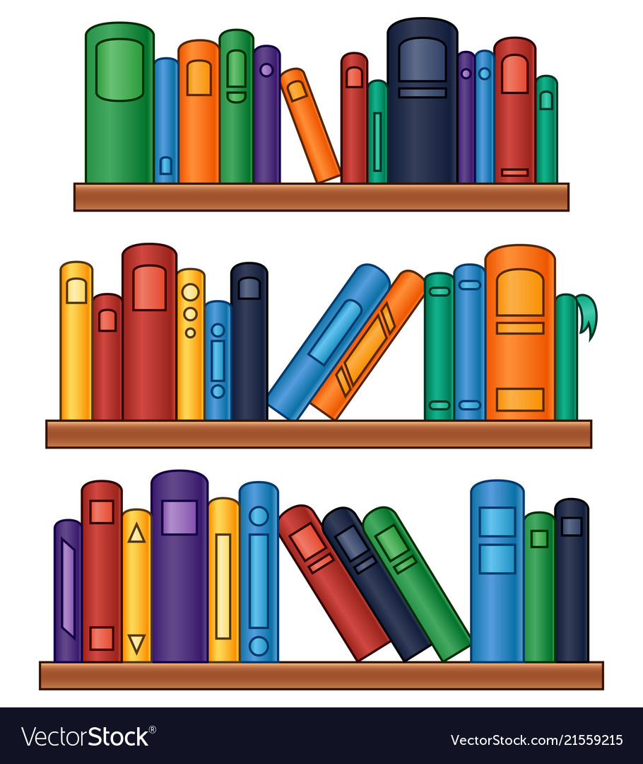 Bookshelf with colorful books Royalty Free Vector Image