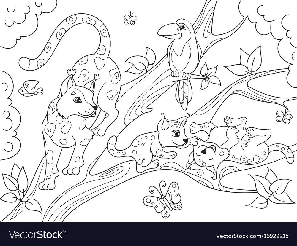 Childrens coloring book cartoon family of leopards