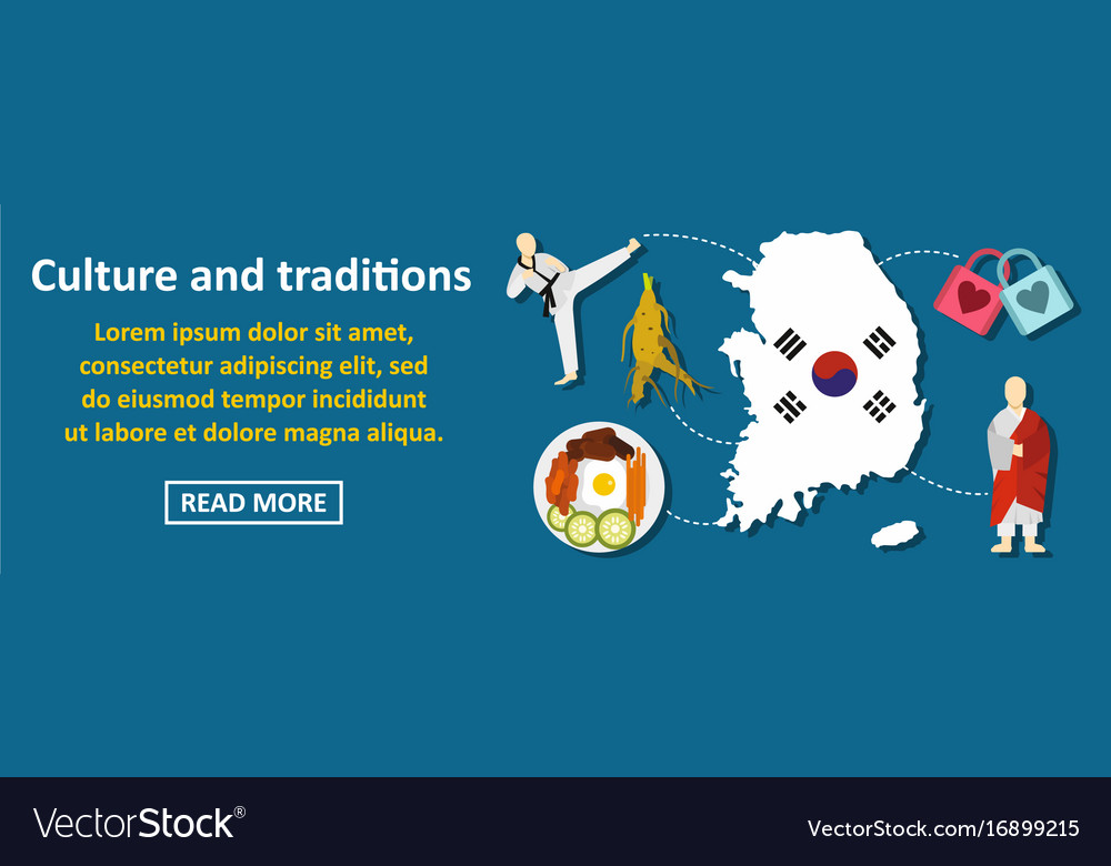 Culture and traditions korea banner horizontal