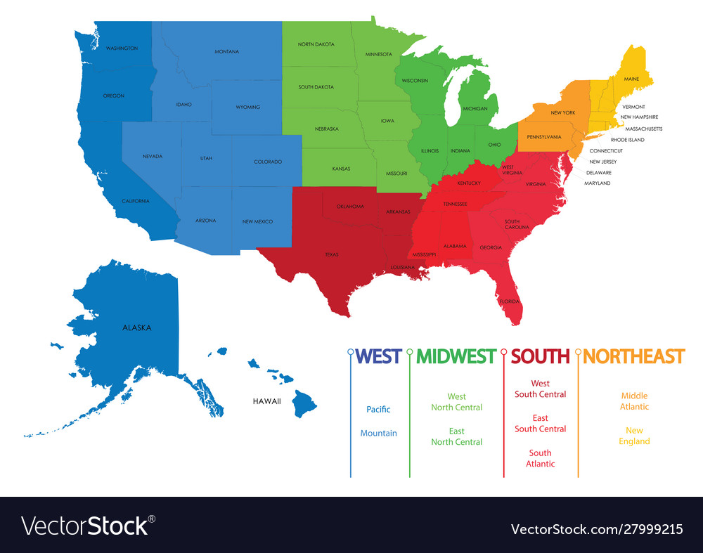 Map Of The United States Map Of The United States.Map United States America Regions Maps Usa Vector Image