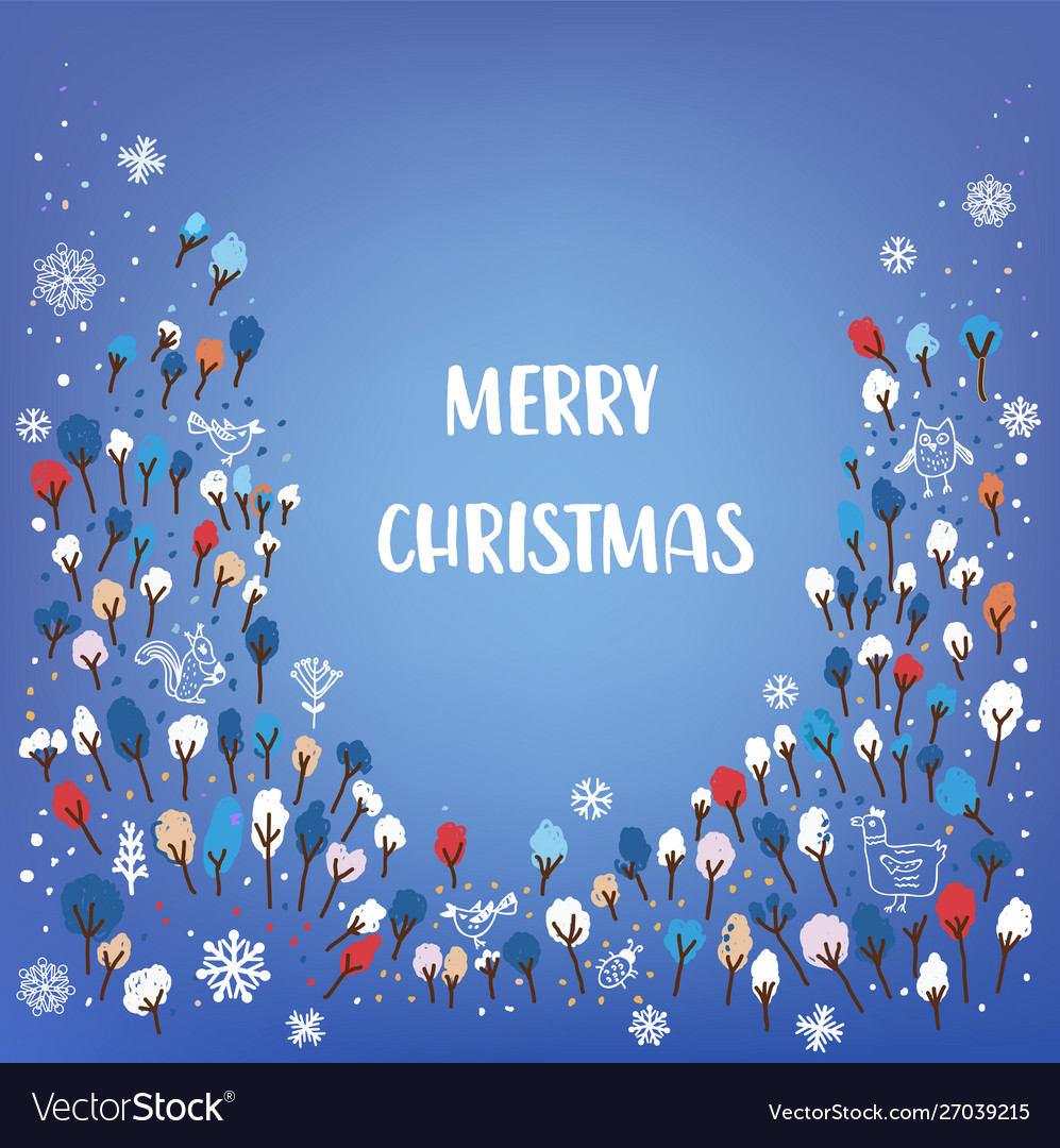 Merry christmas card with forest animals snow