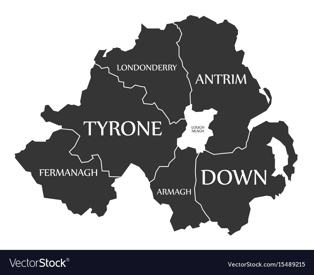 Ireland And Northern Ireland Map.Northern Ireland Map Labelled Black Royalty Free Vector