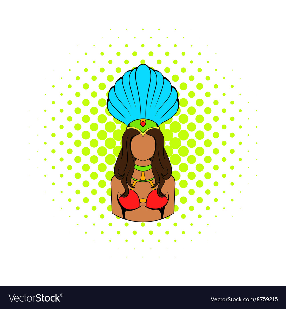 Samba girl icon comics style