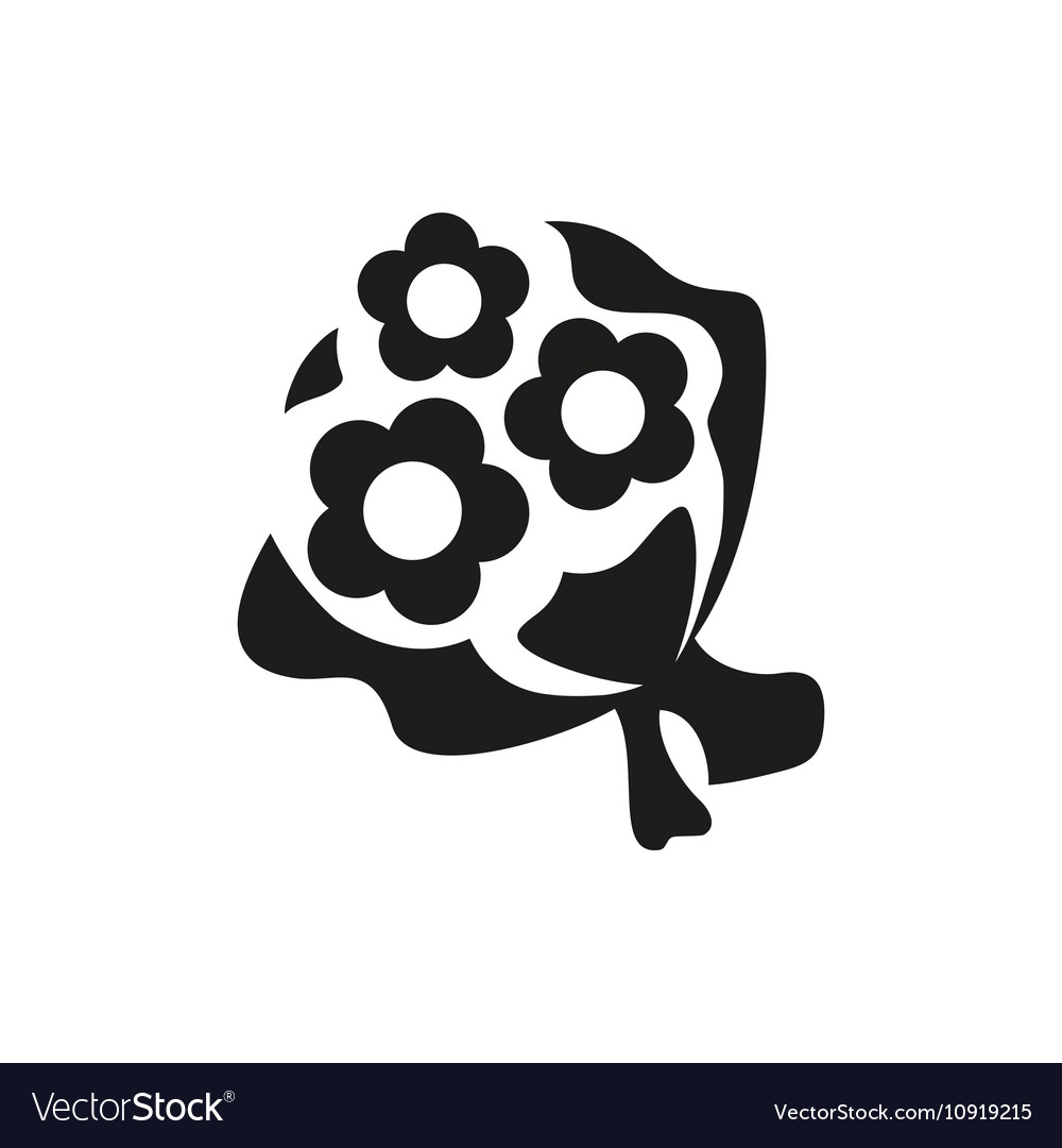 Simple Black Bouquet Of Flowers Icon On White Vector Image